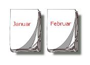 Kalender-Blätter Januar, Februar