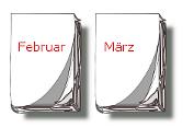 Kalender-Blätter Februar, März