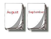 Kalender-Blätter August, September
