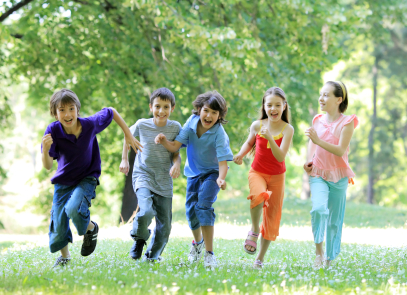Children running outdoor.