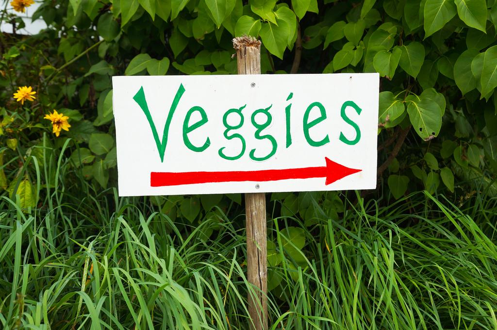Schild mit Aufschrift Veggies