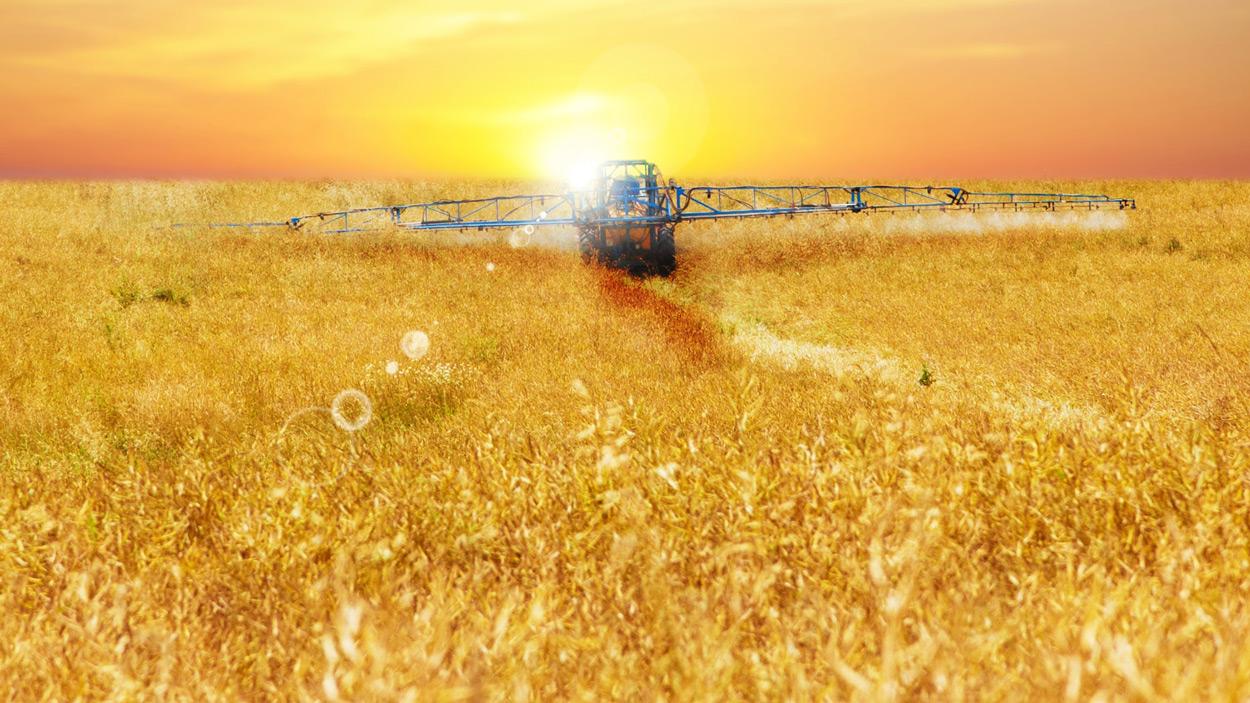 Landwirt in Traktor bei der Arbeit