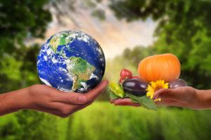 Hände halten die Welt und Genüse