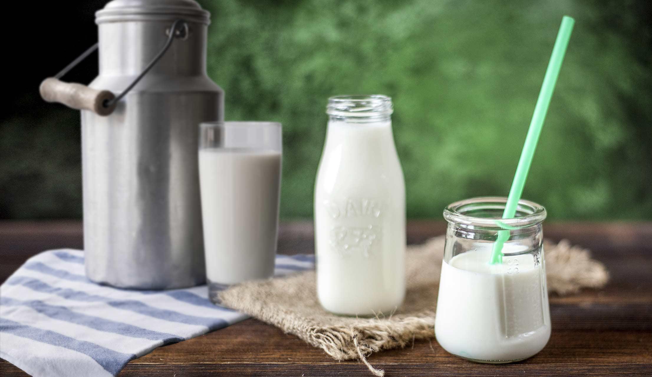 Milchverpackungen auf einem Tisch