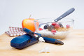 Obst und Insulinpumpe
