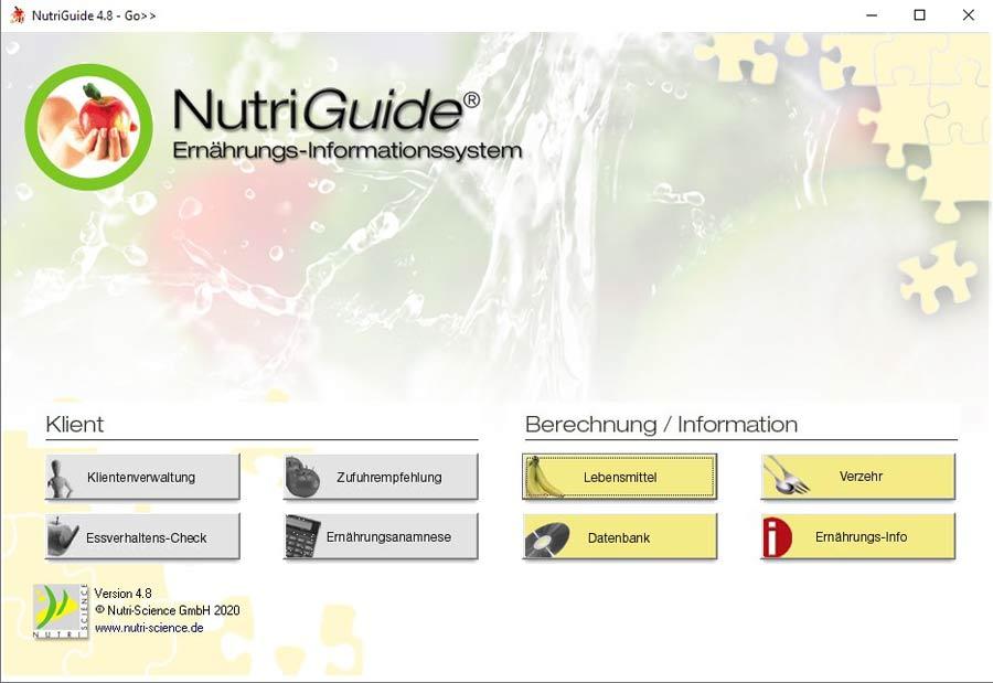 NutriGuide® go | Hauptmenü