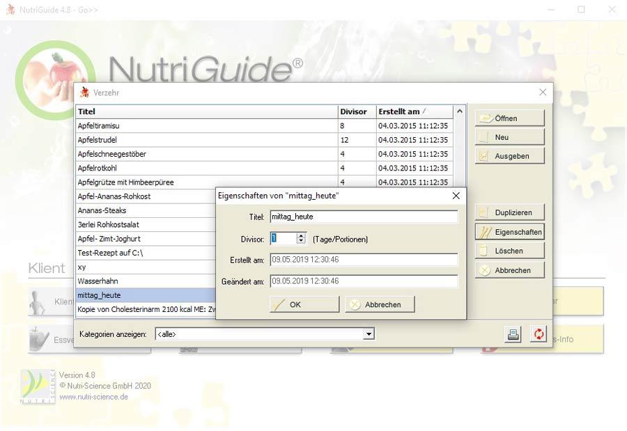 NutriGuide® go   Verzehrplan
