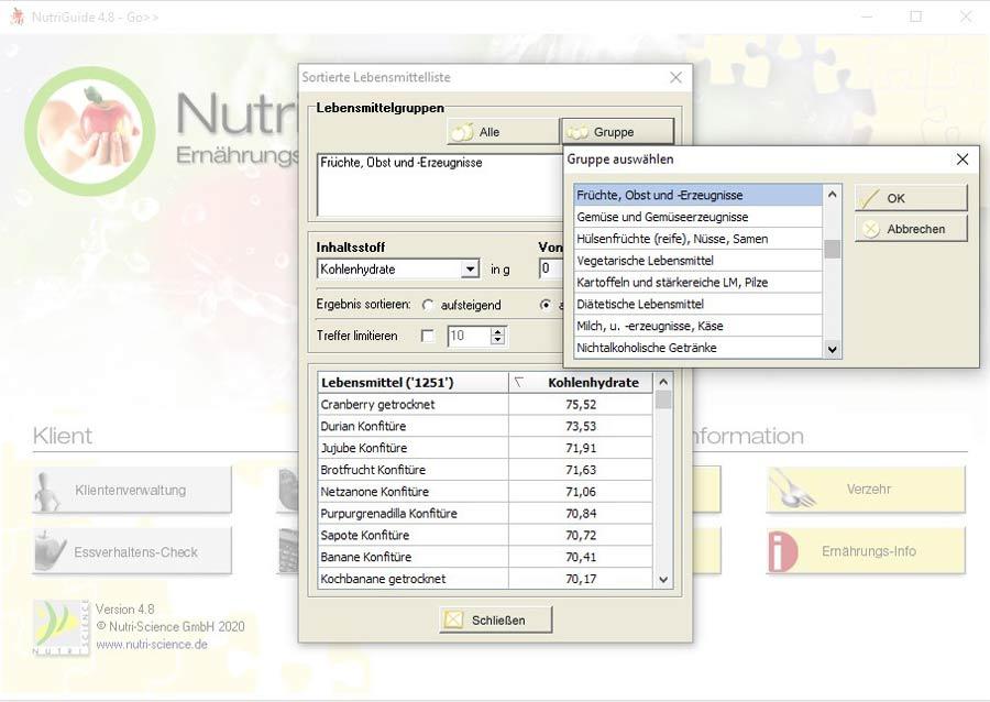NutriGuide® go | Lebensmittellisten
